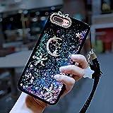 Cfrau Cartoon Liquid Case with Black Stylus for Huawei P20 Lite,Luxury Cute Moon Star Purple Glitter Stars Quicksand TPU Bumer Diamond Sparkle Case for Girls Women with Hand Strap