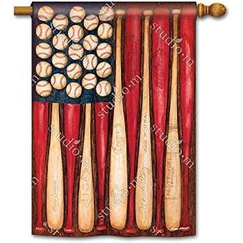 "Patriotic American Baseball Season Play Ball 28"" x 40"" Outdoor House Flag"