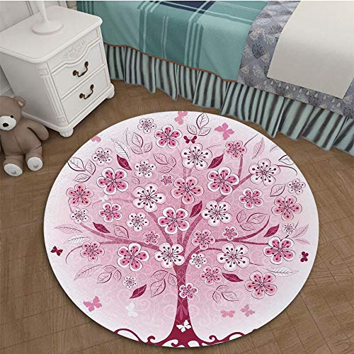 Color Printed Carpet Anti-Slip Floor Rug Soft Baby For Living Room Bedroom 2.95 Ft Diameter House Decor,Decorative Bonsai Tree with Flowers Leaves And Butterflies Fantasy Ornate Illustration,Burdy Pin