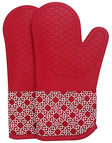 EnjoyLife Inc Heat Resistant Kitchen Hot Oven Mitts 500 Degrees Silicone Cotton Set of 2,Oven Gloves and PotHolder for BBQ Cooking Baking Grilling Barbecue Microwave Oven mitt