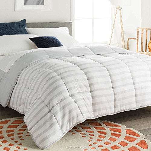 Linenspa All-Season Reversible Down Alternative Quilted Comforter - Hypoallergenic - Plush Microfiber Fill - Machine Washable - Duvet Insert or Stand-Alone Comforter - Grey/White Stripe - Queen