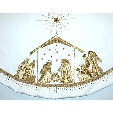 Nest & Noel 56  White Velvet Tree Skirt With Nativity Scene