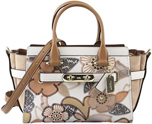 COACH Women's Coach Swagger 27 With Patchwork Tea Rose And Snakeskin Detail Li/Chalk Multi One Size