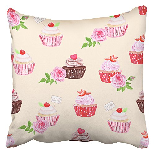 Emvency Decorative Throw Pillow Covers Cases Colorful Girly Chocolate Strawberry Cupcakes Beige Pink Birthday Assortment Bakery Beautiful 16x16 inches Pillowcases Case Cover Cushion Two Sided
