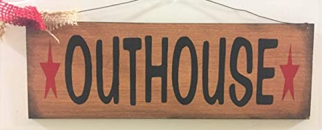 Amazon Com Outhouse With Barn Stars Country Bath Home Decor Bathroom Accessories Wooden Signs Home Kitchen