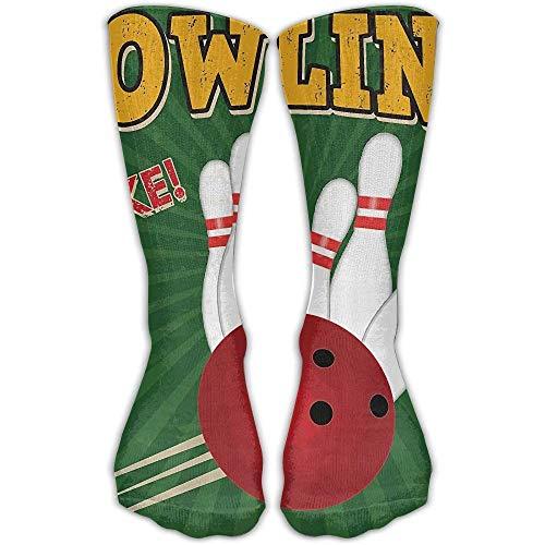 (Bowling Balls and Pins Design Leisure Cotton Socks Men and Women Sports Socks)