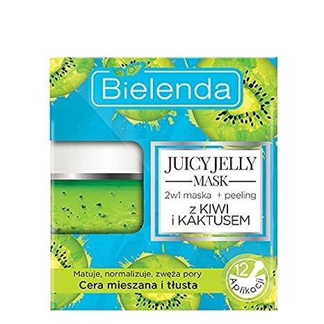 Bielenda Juicy Jellly Mask 2 en 1 Limpiador y exfoliante con KIWI & CACTUS ...