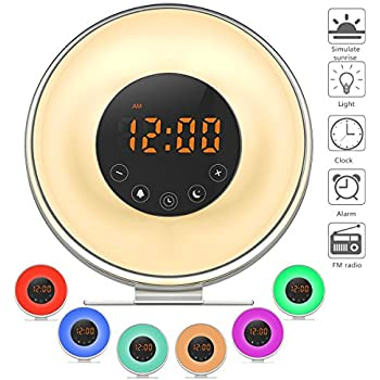 Wake Up Light Alarm Clock,[2017 Upgraded] Sunrise Simulator With 7 Color Night for Heavy Sleepers with 6 Nature Sounds, FM Radio, Touch Control and USB Charger by Ailuki