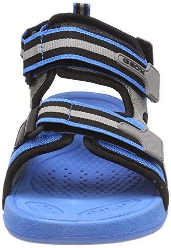 Geox J Sandal Ultrak Boy a, Sandalias con Punta Abierta Para Niños Azul (Lt Blue/black)