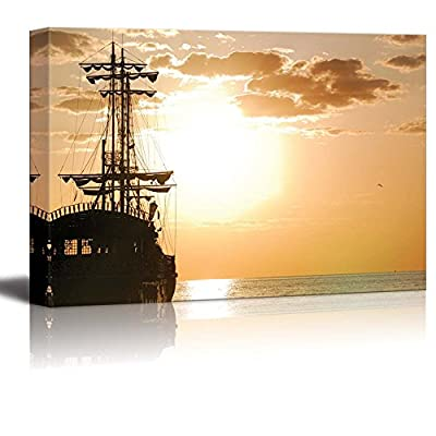 Canvas Prints Wall Art - Pirates Ship at Sea in Horizontal Orientation at Sunset | Modern Wall Decor/Home Decoration Stretched Gallery Canvas Wrap Giclee Print & Ready to Hang - 24