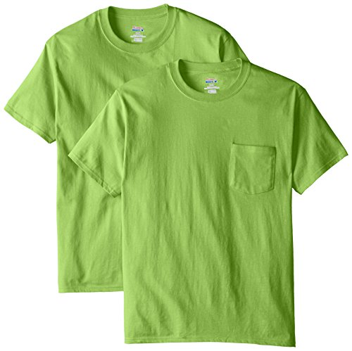- Hanes Men's 2 Pack Short Sleeve Pocket Beefy-T, Lime, X-Large