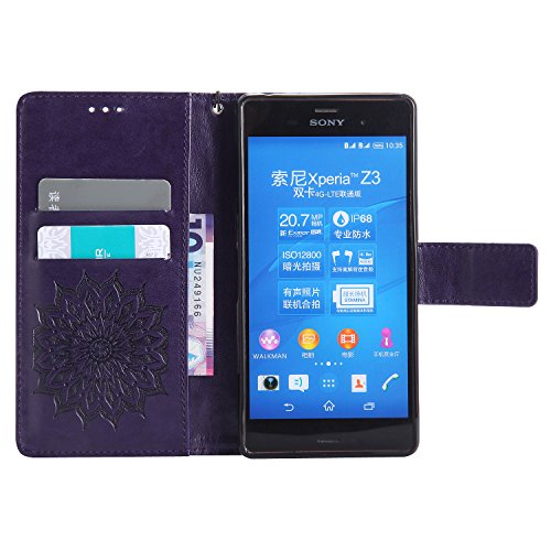 Funda Sony Xperia Z3, SsHhUu Funda PU Piel Genuino Carcasa en Folio [Sun Flower] [Ranuras para Tarjetas] [Cierre Magnetico] con Lápiz óptico + Acollador para Sony Xperia Z3 (5.2) Verde Púrpura
