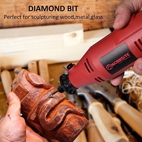 Worksite Rotary Tool Kit Variable 7 Speed For Polishing, Cutting, Sculpturing with 100 Piece All-Purpose Rotary Accessory Kit, Flex Shaft and Stand(EDG110-Red)