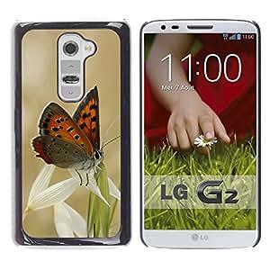 """For LG G2 , S-type Mariposas y hierba"""" - Arte & diseño plástico duro Fundas Cover Cubre Hard Case Cover"""