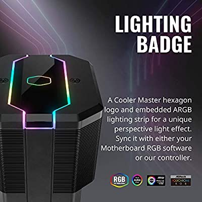 Cooler Master MasterAir MA620M Dual Tower Addressable RGB CPU Air Cooler w// 6 CDC Heat Pipes Hexagon Logo and Embedded Addressable RGB Lighting Strip SF120R Fan