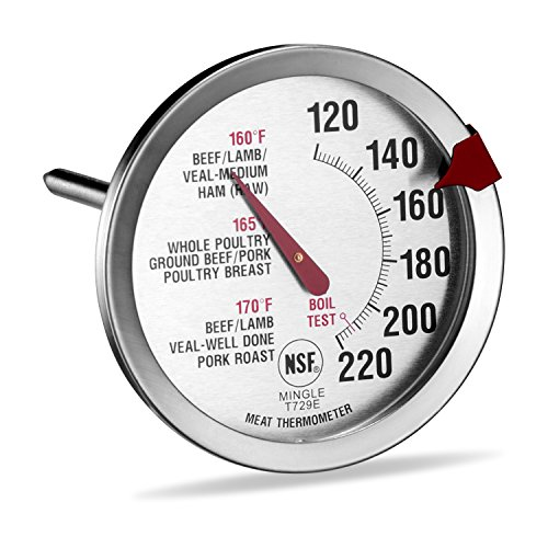 SINARDO Roasting Meat Thermometer T729E, Oven Safe, Large 2.5-Inch Easy-Read Face, Stainless Steel Stem and Housing