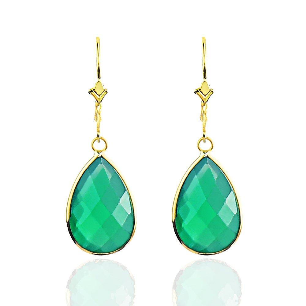 14K Yellow Gold Handmade Earrings With Dangling Pear Shape Green Onyx