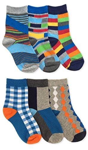 Jefferies Socks Boys Fashion Crew Socks 6 Pack (X-Small) (Colorful Socks Boys)