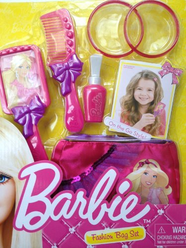 Exclusive Barbie Fashion Beauty Set/ Purse, Brush,Comb, Bracelets and Play Lipstick