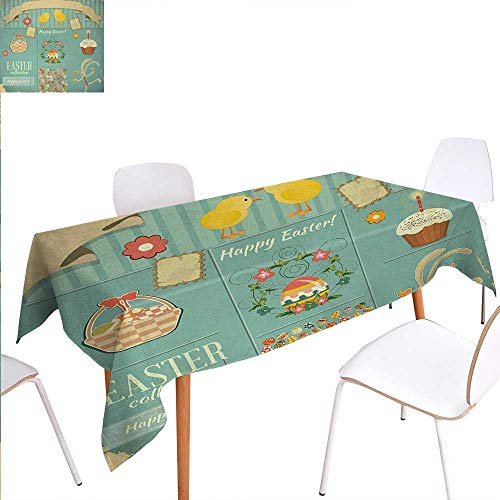 Warm Family Easter Printed Tablecloth Easter Themed Rabbit Ornamental Eggs Cupcake and Basket Spring Season Arrangement Rectangle Tablecloth 60