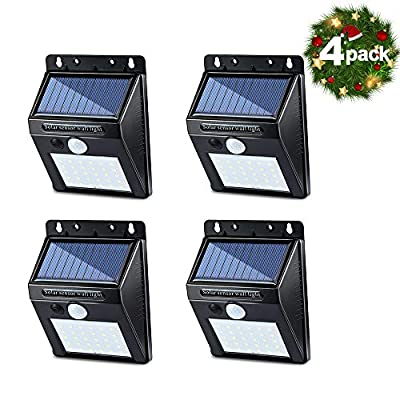 Omicoo 30 LED Solar Light Christmas Lights Motion Sensor Wireless Radar Sensors IP65 Security Wall Lights for Outdoor Wall, Patio, Deck, Yard, Garden with Motion Activated Auto On/Off ?4 Pack?