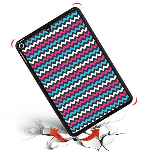 2018 iPad Mini 5 Case Modern Colorful Zigzag Twisty Bands Winding Abstract Chevron Tiles Geometric Print Pink Sky Blue Black