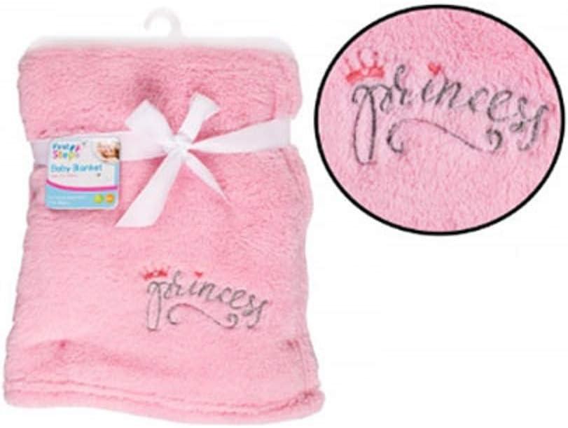 Manta para bebé con bordado de princesa en color rosa (75 cm x 100 cm)