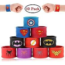 Tomus-UNI Superhero Bracelets Superhero Slap Bracelets for Kids Boys & Girls Birthday Party Supplies Favors Wristband Accessories Wrist Strap (10 Pack)