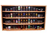 60 Shot Glass/Shooter Display Case - Open Face Rack Cabinet Holder - Dark Walnut