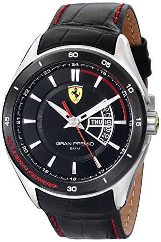 Ferrari Mens 0830183 Gran Premio Analog Display Quartz Black Watch