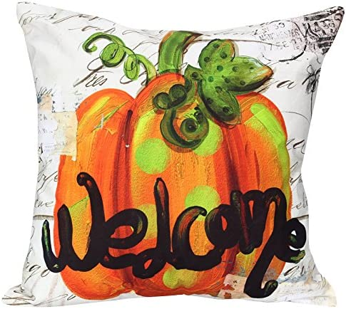 Young s Fall Welcome Bright Orange Pumpkin Canvas Throw Pillow 15 Inch