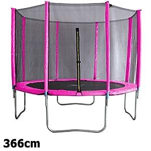 Premium Trampolin neonpink 366cm mit Netz Sicherheitsnetz Gartentrampolin für...