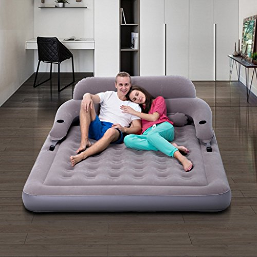 QIHANGCHEPIN Double Inflatable Inflatable Mattress, PVC Removable Backrest Inflatable Bed, Outdoor Travel Tent Folded Air Mattress, Beige/Gray 203152CM+ Backrest (Color : Gray)