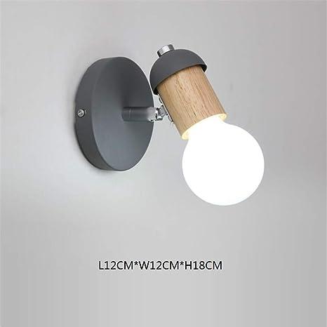 L-C Luz de Techo Nordic Minimalista Madera Maciza Lámpara de Pared Gris Pasillo Creativo Escalera Luz Fondo Decoración de Pared Lámpara de Noche de Madera Dormitorio Lámpara de Pared: Amazon.es: Deportes y