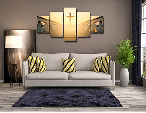 (Dining Room Decor Catholic Cross Picture Contemporary Artwork Wooden Bridge Sunrise Painting Canvas Wall Art Home Living Room Decorations Poster Prints Framed Ready to Hang(60''Wx32''H))
