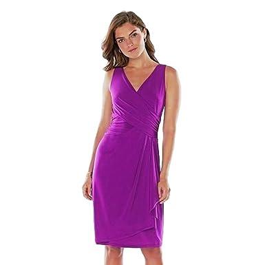 15cddd47e5a Amazon.com  Chaps Womens Blue Floral Surplice Matte Jersey Sheath ...