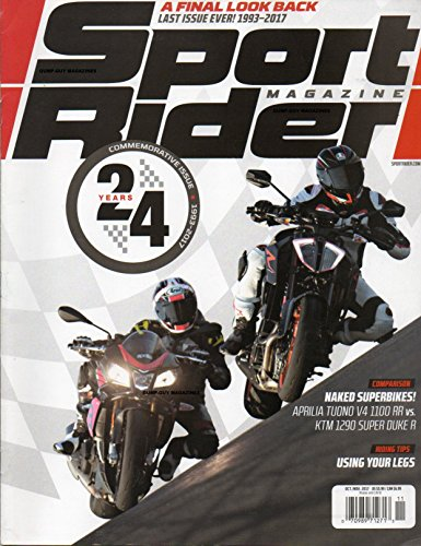 Sport Rider Magazine LAST ISSUE EVER, 1993 - 2017 A FINAL LOOK BACK AT 24 YEAR HISTORY Naked Superbikes APRILIA TUONO V4 1100 RR vs. LT, 1290 SUPER DUKE A First Ride: 2018 Suzuki (Circle Track Magazine)