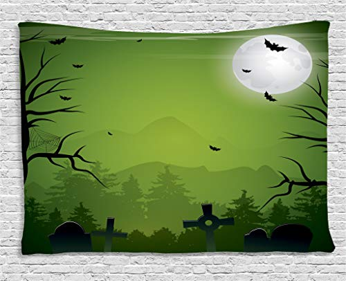 Lunarable Halloween Tapestry, Tombstones Cemetery Full Moon and Bats on Green Toned Backdrop, Wall Hanging for Bedroom Living Room Dorm, 60 W X 40 L Inches, Lime Green Charcoal Grey Grey