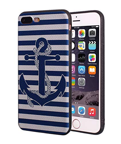 iPhone 7 Plus Case,iPhone 8 Plus Case,BWOOLL Slim Anti-Scratch Shockproof Leather Grain TPU Rubber Protective Cover for Apple iPhone 7 Plus (2016)/iPhone 8 Plus (2017) 5.5 inch - Retro Nautical Anchor