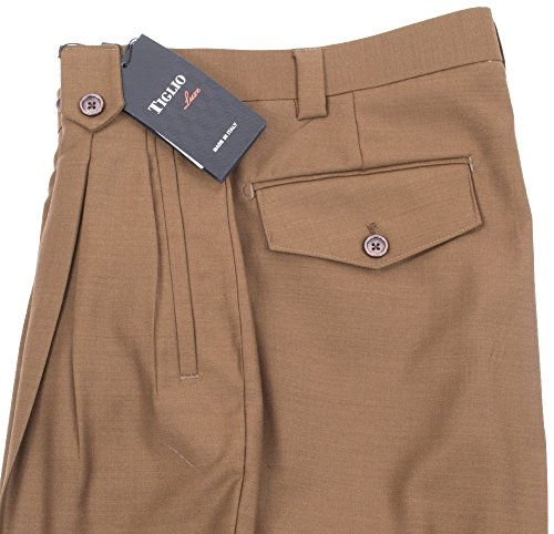 Pants Leg Wool Wide (Tiglio 2576 Tobacco Wide Leg Dress Pants Pure Wool (36))