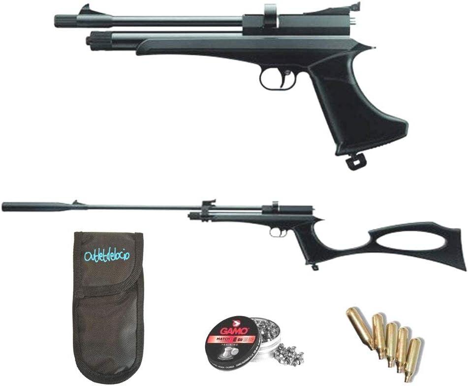 Outletdelocio.. Pack Pistola-Escopeta de Aire comprimido Stinger Arma de CO2 y balines (perdigones de Plomo Cal. 5.5mm) <3,5J. 29318/36580/23054
