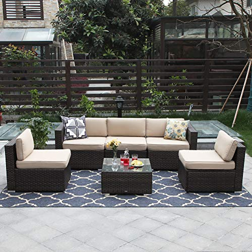 PHI VILLA 6-Piece Outdoor Sectional Sofa Rattan Patio Furniture Set Conversation Set with Tea Table and Free Patio Sofa Cover, - Sofa Piece 6