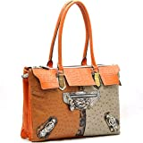 Designer Inspired Ostrich Texture Fashion Shoulder Handbag w/ Crocodile Trim Orange/Multi, Bags Central