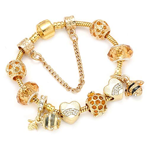 Gift for Girlfriend Dropshipping Very Bees Beads Charm Bracelet Bangles For ladies Gold Color Fine Band Female Wedding Jewelry Design
