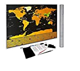 "FREELOGICS Scratch Off World Map Poster - US States and Country Flags, Detailed Adventure Travel Tracker, Perfect Gift for Travellers, Deluxe 33""x24"" Black and Gold with Bonus Accessories"