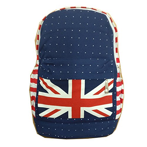 [UK SELLER] Retro Union Jack Design Canvas Backpack Shoulder Travel Bag Rucksack Lightweight Cute Pattern Canvas Backpack Young Girls School for Women RS007REDBLUE