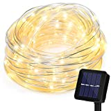 Home Garden Best Deals - Solar String Lights 100LED Waterproof Christmas Rope Ornament Decorative Lighting for Outdoor Home Garden Party Xmas Tree (Warm-white)