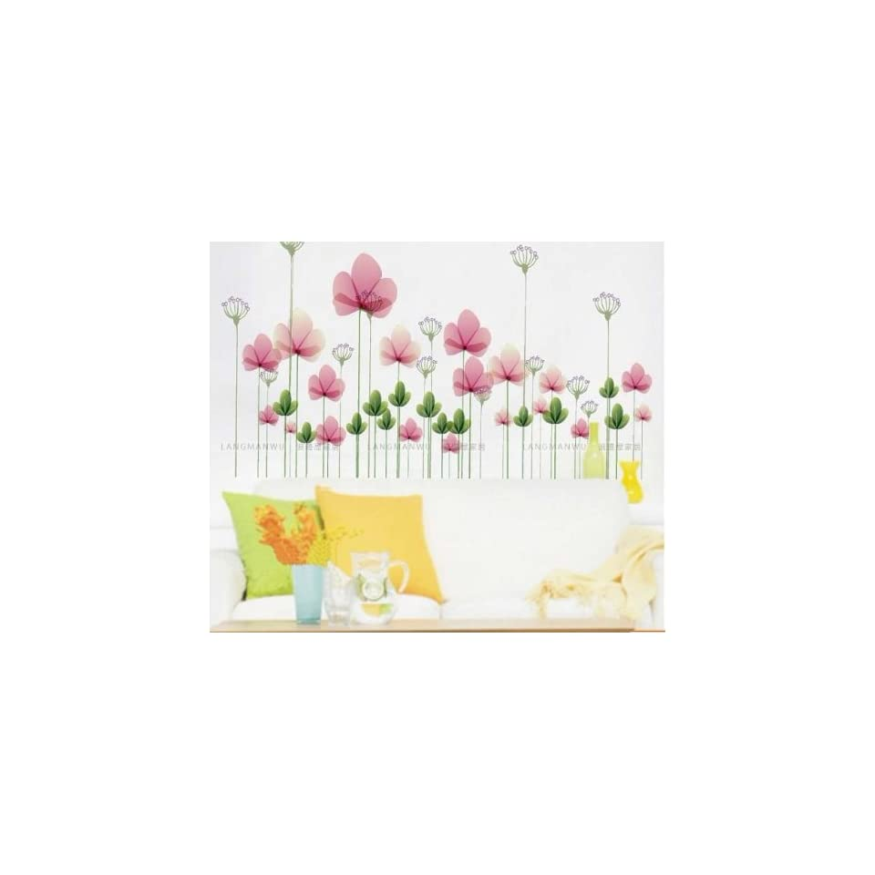 Reusable/removable Decoration Wall Sticker Decal  Pink Flowers