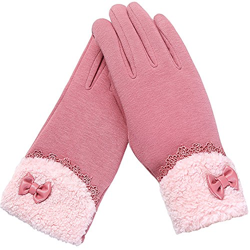 Price comparison product image Touch Screen Gloves, Girls Fashion Gloves Winter Warm Fleece Mittens for Lady ( A Pair, Pink)