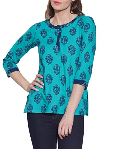 Cotton-Printed-Kurti-Women-Apparels-Turquoise-Tops